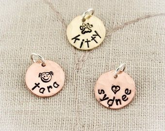 Personalized Copper Charms, Personalized Brass Charms, Copper Disc Charm, Brass Charm, Hand Stamped Charms, Charms for Bracelets, Necklace