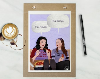 Lorelai and Rory Poster - Gilmore Girls Poster - TV show Poster, Gilmore Girls illustration, Gift idea, Wall Art, Stars Hollow poster, Typo