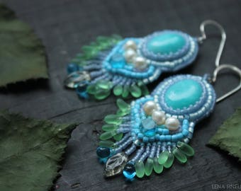 Beaded embroidery Earrings Gift for her Christmas gift Beadwork Boho earrings  Embroidered Aquamarine earrings  Mother Girlfriend Gift