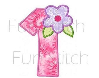 flower applique number 1 machine embroidery design