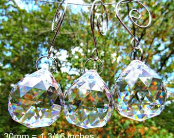 3 Crystal Balls, 30mm  Faceted Crystal Ball, Crystal Sun Catcher, Wedding Décor, Christmas Ornament, Crystal Gift  FC 110-3