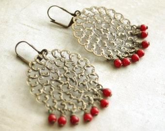 Red Bead Chandelier Earring,  Antiqued Brass Chandelier Earrings, Large Chandelier Earrings, Dangle Earring, Mandala