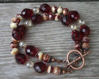 Ruby Glass and Copper Multi-Strand Bracelet, Ruby Czech Glass Bracelet