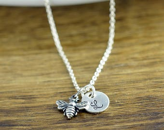 Initial Necklace Sterling Silver, Initial Bee Necklace, Bumblebee Pendant, Insect Jewelry, Bridesmaid Gift, Best Friends Gift