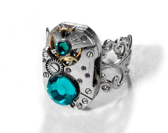 Steampunk Jewelry Ring Vintage Art Deco Watch Swarovski Turquoise Crystals Steam Punk Women Holiday Gift Her - Jewelry by Steampunk Boutique