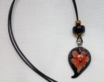 Peach Flower Burst Glittery Glass Pendant Necklace OOAK - Free Shipping within the U.S.