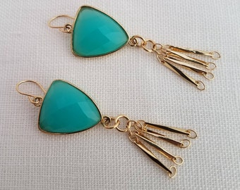Blue Dangle Earrings with Gold Chains