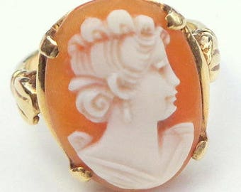 Sz 5, Vintage Cameo Ring, 14k Solid Gold Ring, Hand Carved Conch Shell Cameo Ring, 1920's Art Deco