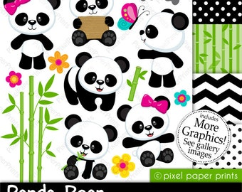 Panda Bear - Clip art and digital paper set - Panda clipart