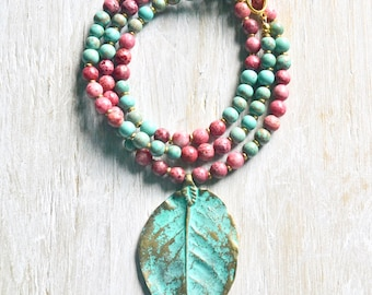 Long Boho Necklace, Pink and Turquoise Beaded Necklace, Brass Patina Leaf Necklace, Stone Necklace