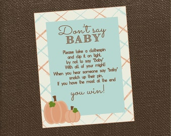 Don't Say Baby Sign for Little Pumpkin Baby Shower Game. Instant Digital Download. Fall Baby Shower Game, Pumpkin Baby Shower Game
