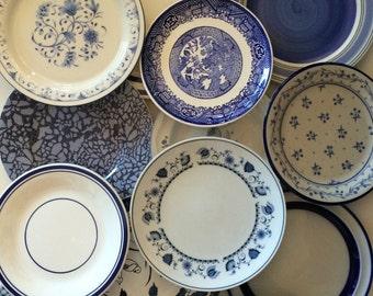 Blue White Salad Plates Mismatched - Stripe Floral Spatter Asian Indigo Sky Ocean Blue - Wedding Shower Country Cottage Farmhouse Decor