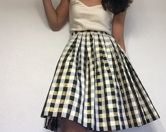"""All the golden dreams // handmade pleated skirt // small - 25"""" // gingham vintage fabric"""