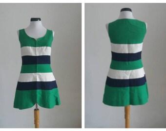 Vintage 1960s  Dress/ Cotton & Linen Dress/ 60s Mod Dress