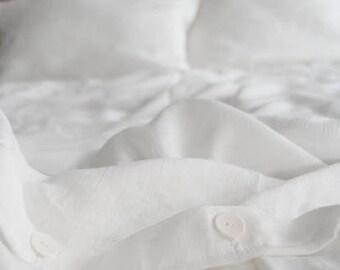 Linen Bedding Set/White/ Queen Duvet Cover and 2 Pillow Cases