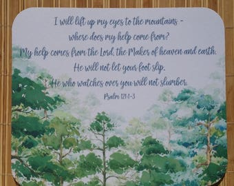 Christian Mouse Pad Bible Verse Mouse Pad Psalm 121 Christian Gift Next DAY Shipping, Scripture Mouse Pad I Lift Up My Eyes To The Mountains