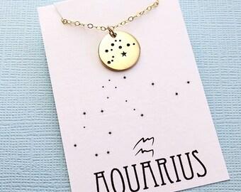 Aquarius Jewelry | Aquarius Necklace, Zodiac Jewelry, Zodiac Necklace, Constellation Necklace, Astrology Jewelry, Zodiac Sign Necklace