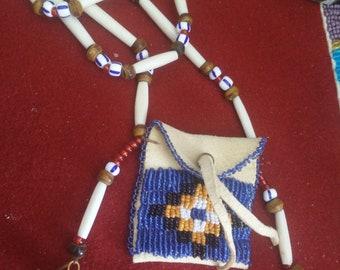 Amulet bag, medicine BAG, native beaded dress, boho necklace, bohemian necklace, Festival jewellery, bone hairpipes, Glass beads, hawk bells