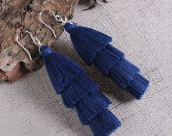 Four Layered Navy Blue Tassel Earrings