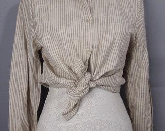Vintage deadstock shirt - striped shirt - retro blouse - cotton blouse - cream blouse - stripy blouse - summer fashion - office wear