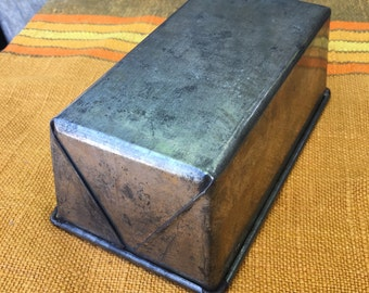 Vintage Mini Steel Loaf Pan, Dark Folded Steel Loaf Pan, Food Photography Prop