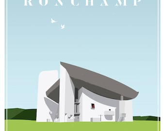 Le Corbusier Ronchamp Chapel Architectural Illustration Fine Art Print
