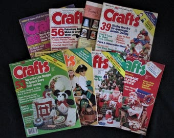 Vintage Lot of 8 CRAFTS Magazines from 1986