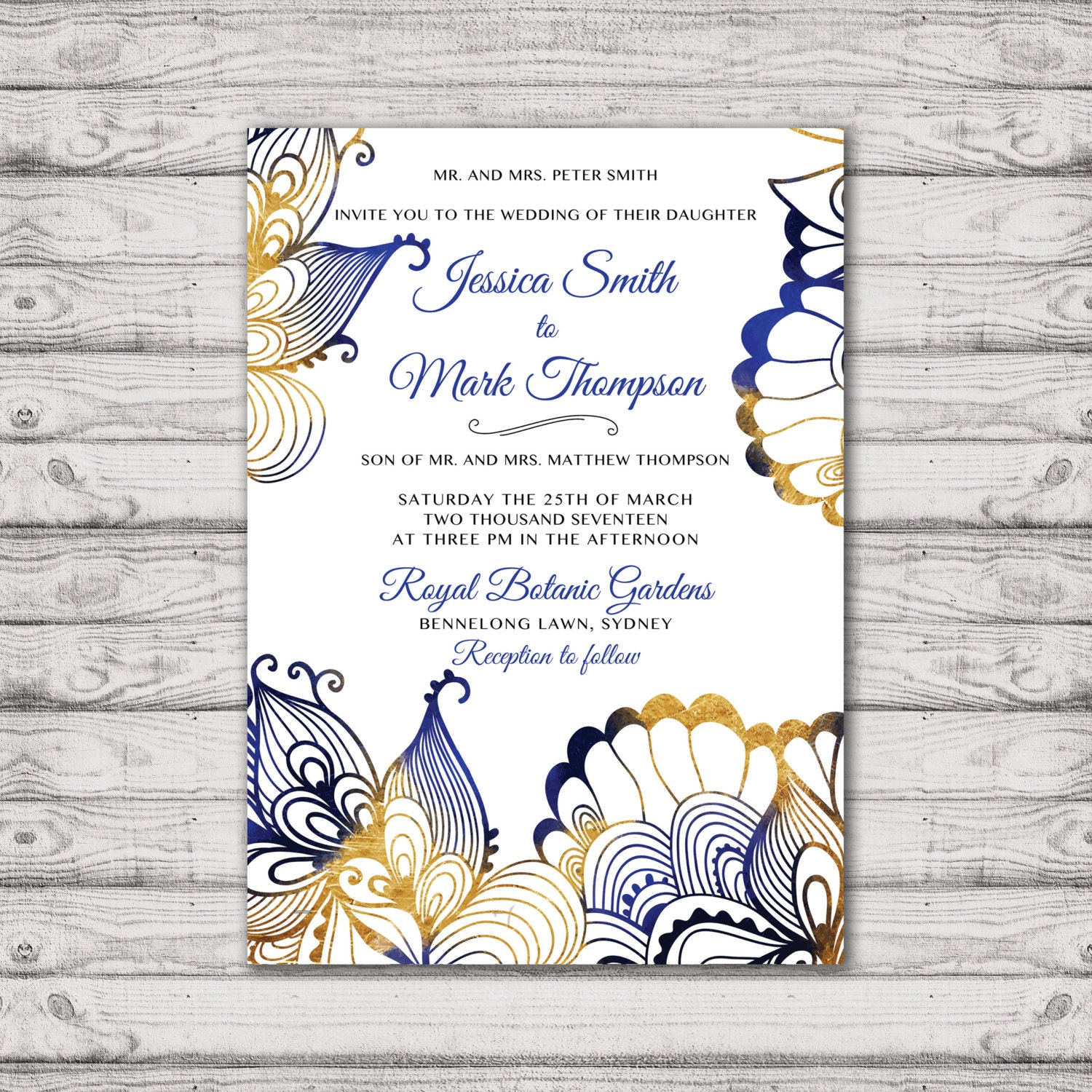Traditional Wedding Invitation - Print At Home File or Printed ...