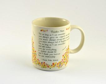 Vintage,Vintage Mug,MOTHER, Sentimental,Blue Mountain Arts,Papel,1980s,Mothers Day,Thanks Mom mug,Greeting Mug