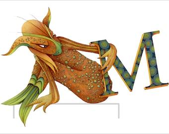 Monster - Kids Wall Art Poster - Letter M - Monster Art - Naked Monster Poster - Letter Print - Monster Poster - Alphabet Print - Art Poster