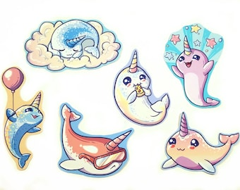 Cute Narwhal / narwhale / waterproof vinyl stickers / ocean / sea / magical / rainbow / unicorn of the sea