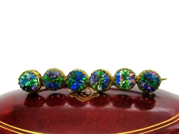 Antique Victorian Bohemian Crystal Bar Pin Brooch, 1900's