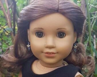 American girl doll blue bead and flower bead earrings