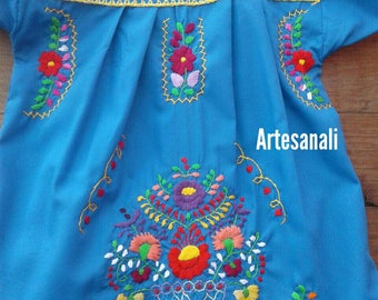 Traditional Mexican hand Embroidered size 6 years old/