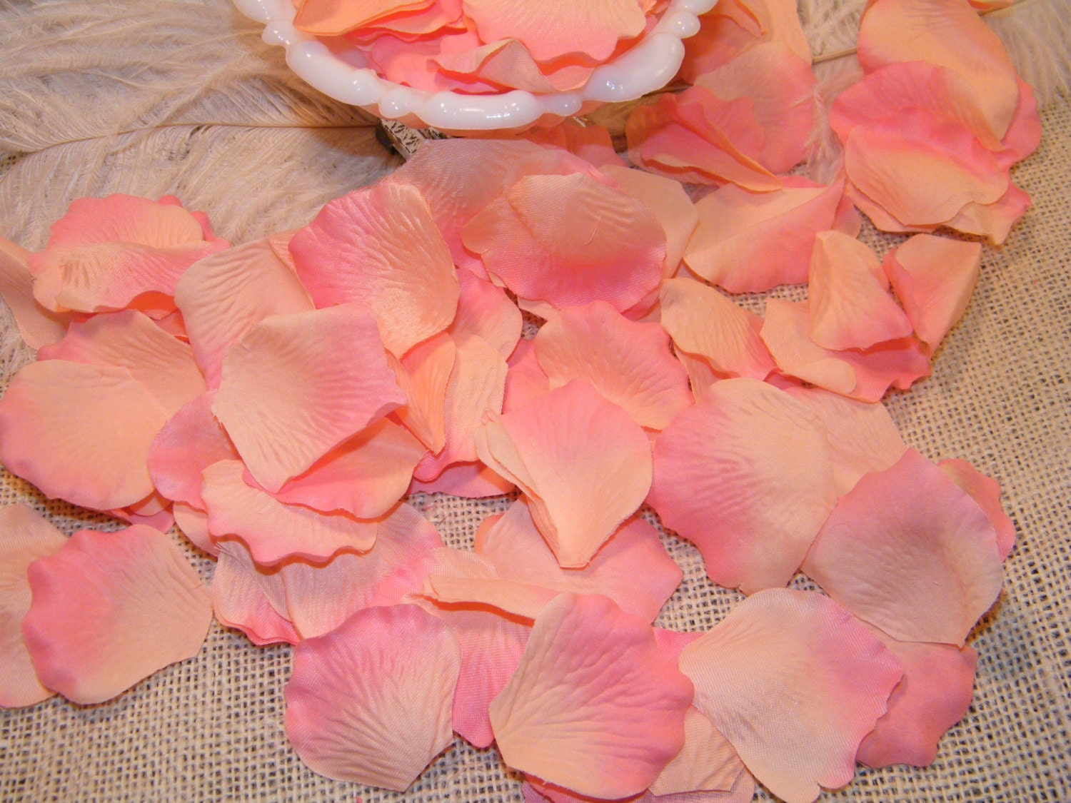 200 Rose Bulk Petals, Artificial Petals, Peach and Coral Pink Tipped ...