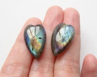 Labradorite Elongated Half Top Drilled Heart Drops 12x20x6 mm One pair F2963