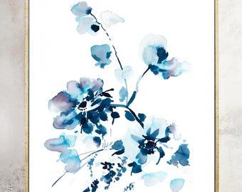 Floral prints, Indigo painting, indigo dye, indigo floral, 11x14, Watercolor, original painting, blue painting, floral print, wedding gift
