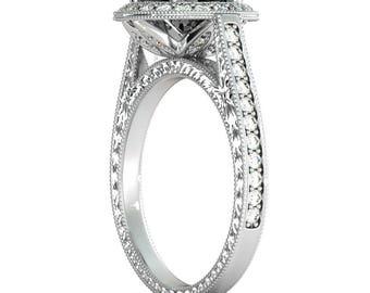 2 3/4 Carat Black Diamond Ring White Gold , Filigree Hand Engraved Engagement Ring, Vintage Black Diamond Halo Ring