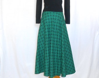Swing Skirt Jitterbug Skirt Vintage 1950's Skirt Long Skirt Vintage Skirt Green and Black Art Deco Skirt