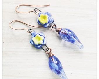 Blue flower earrings - Forgetmenot earrings -lampwork glass dangles