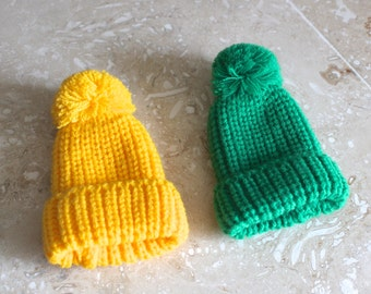 Knitted egg cozies - vintage knit egg cozy - two knitted egg cozies - egg hats - egg warmers