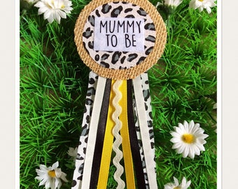Leopard Print Pintage Fabric Mummy To Be Badge Rosette