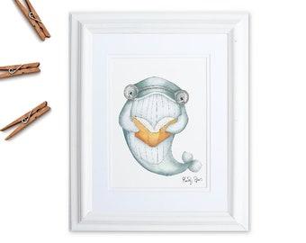 Whale Nursery Art, Watercolor Whale Print, Reading Art, Gender Neutral Baby Gift, Ocean Animal Prints, Nautical Nursery Decor, Sea Nursery
