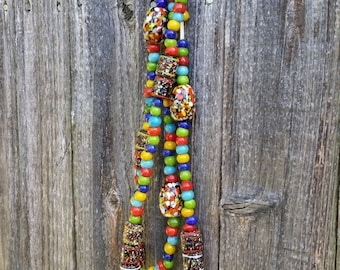CLEARANCE Glass bead necklace trade beads chunky necklaace multi color beads recycled glass bead  - 157