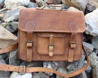 "Heathbold Incanto. Gorgeous full grain leather, tan / brown handmade laptop satchel bag. Monogram engraving option Large for 13"" Macbook etc"
