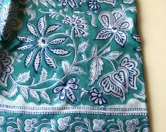 Indian Block Print Fabric by the yard, Border Print Fabric, Hand Stamped Indian Cotton Fabric, Mint Green Floral print, Indian Cotton Fabric