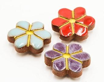 Retro Flower Magnet Set | Flower Magnets | Retro Magnets | Refrigerator Magnets | Ceramic Fridge Magnets | Retro Decor | Handmade Pottery