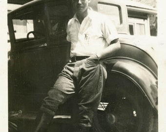 Vintage Snapshot 1931 Ty Handsome Hunk Young Man High Boots by Car gay int