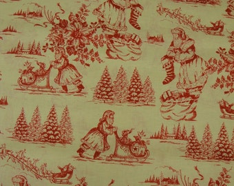 Toile de Jouy - Vintage Inspired Red Santa Toile Material 1 Yard