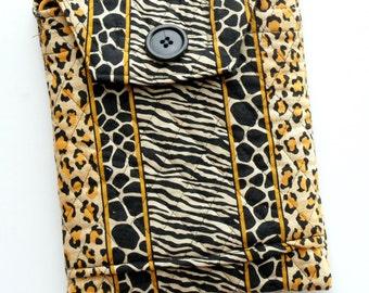 Mini iPad bag, eReader bag, leopard print crossbody purse, quilted bag, padded bag